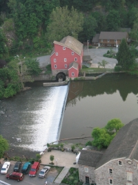 Clinton New Jersey Mill water fall. This is a historic land mark that is well visited by tourests and locals alike. If you're in the area, you must see this town.